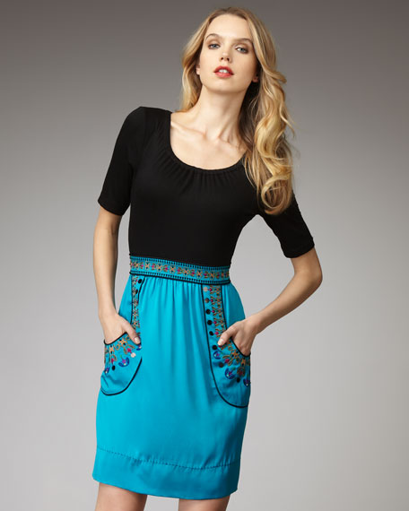 Embroidered Combo Dress