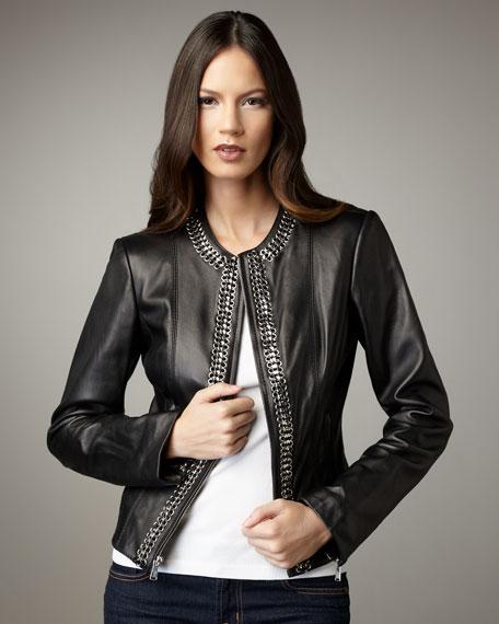 Chain-Trim Leather Jacket