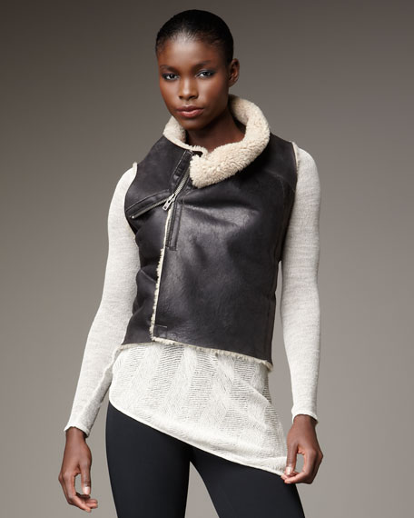 Weathered Shearling Cropped Vest