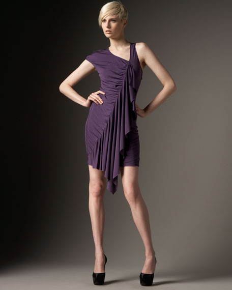 Asymmetric Silk-Jersey Dress
