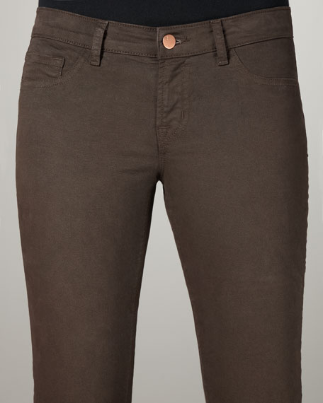 811 Suede-Wash Mid-Rise Skinny Twill Jeans