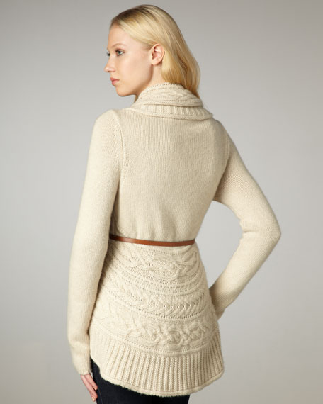 Draped Cable-Knit Cardigan