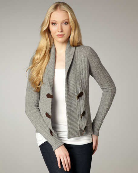 Cable-Knit Buckle Cardigan