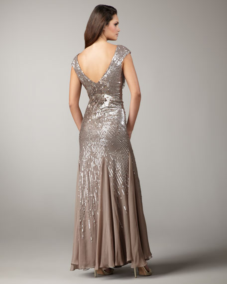 Floral-Embellished Sequined Gown
