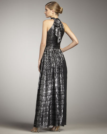 Shimmery Diamond-Print Gown