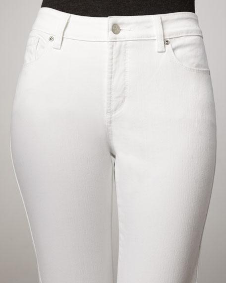 Marilyn Optic White Rhinestone-Pocket Jeans, Petite