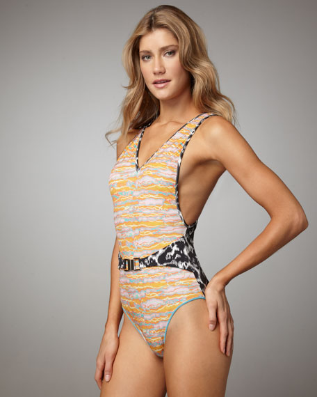 Belted Mixed-Print Swimsuit