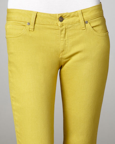 Cropped Skinny Jeans, Chartreuse
