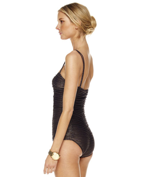 Metallic Shirred Princess Swimsuit