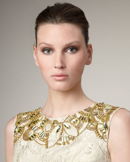 Bead-Neck Ombre Brocade Dress