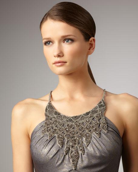Bead-Neck Metallic Gown