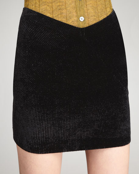 Velvet Rib Scoop-Front Skirt