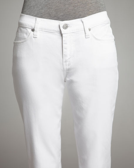 Slim Straight-Leg Ankle Jeans, Clean White