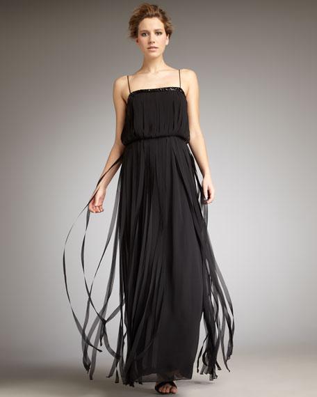 Plisse Chiffon Gown