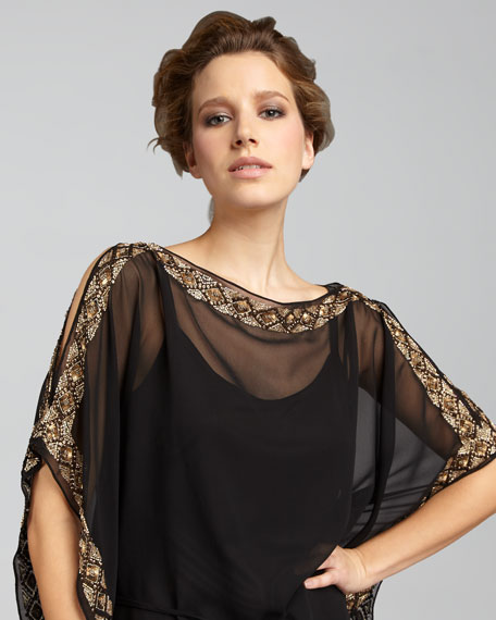Cold-Shoulder Caftan Dress