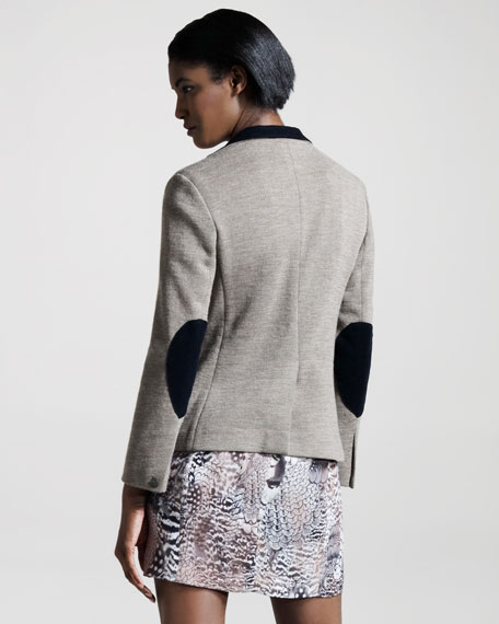 Knit Contrast-Collar Jacket