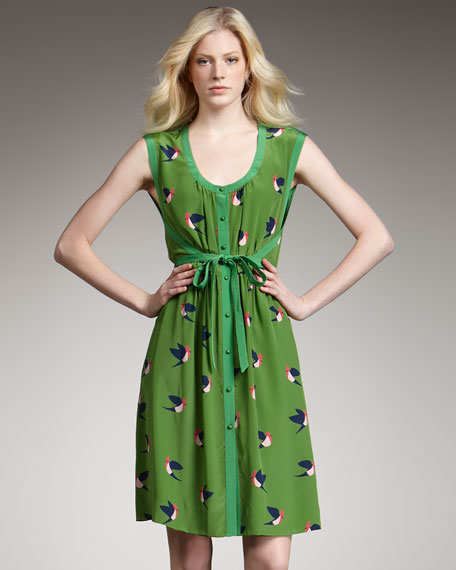 Finch-Print Silk Dress