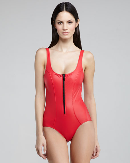 Jasmine Zip-Up Low-Back One-Piece Swimsuit