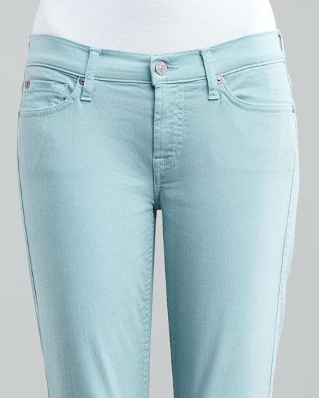 Cropped Skinny Twill Pants, Aqua