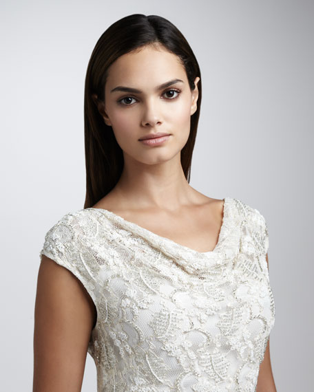 Cowl-Neck Lace Dress