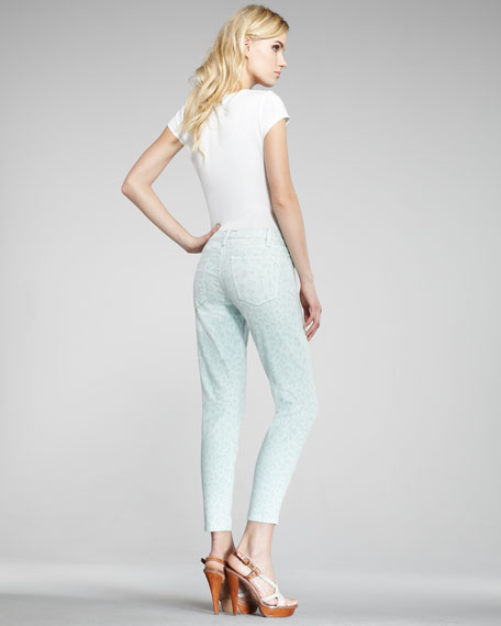 The Stiletto Mint Leopard-Print Jeans