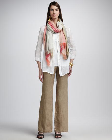 Heavy Linen Wide-Leg Trousers, Petite