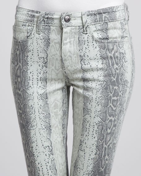 The High Water Mint Snake-Print Jeans