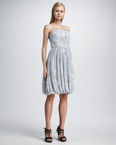 Marble-Print Strapless Dress