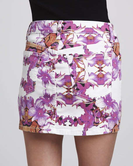 Exotic-Print Denim Miniskirt
