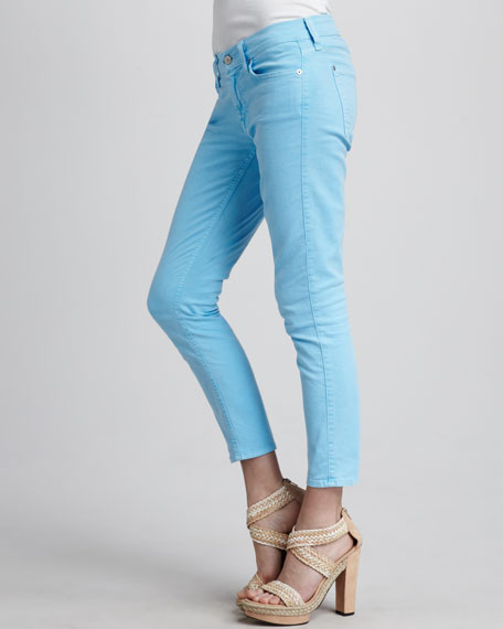 Cropped Skinny Jeans, Neon Blue