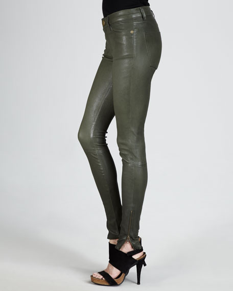 The Skinny Zip-Cuff Leather Leggings, Military Green