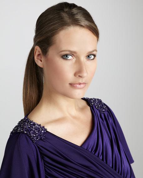 Draped Bead-Shoulder Cocktail Dress