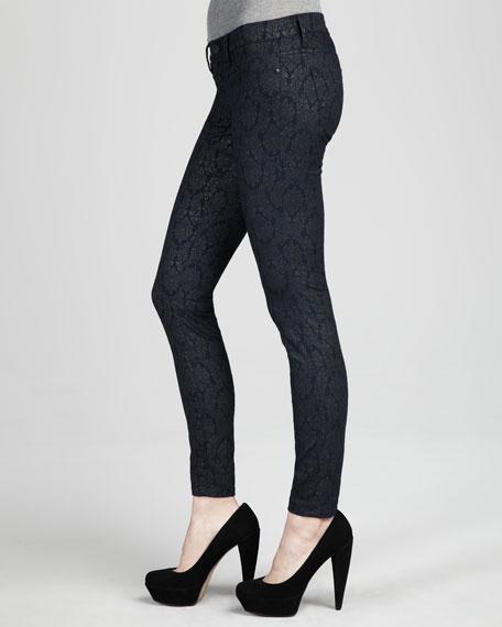 Spray-On Printed Skinny Jeans