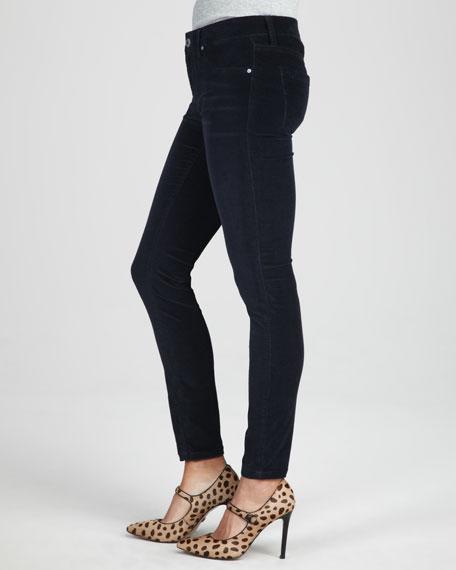 Skinny Velvet Pants, Navy Yard