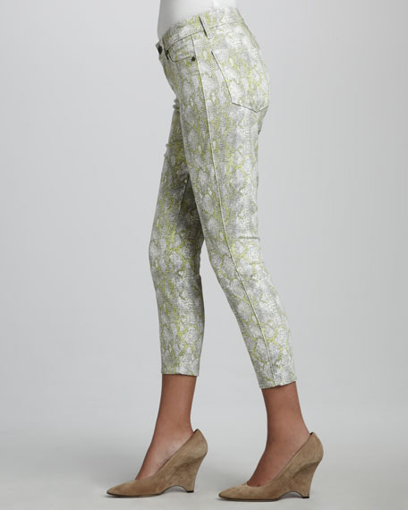 Believe Python-Print Cropped Leggings