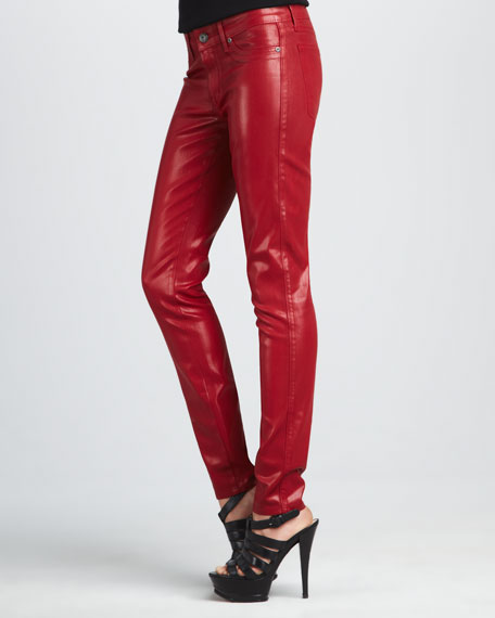 Rich and Skinny Legacy Candy Apple Coated Faux-Leather Leggings
