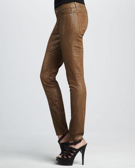 Legacy Coated Mustard Croc-Print Legging Jeans