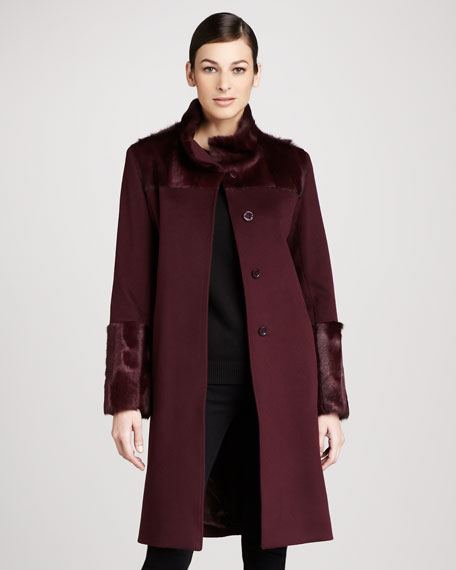 Mohair-Trim Wool Coat
