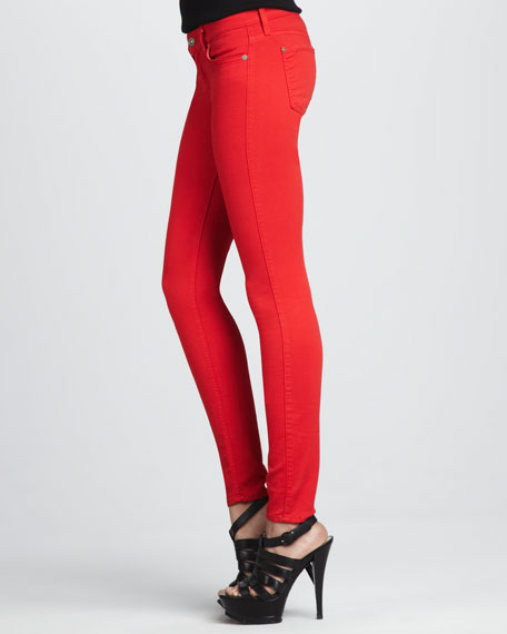 7 For All Mankind The Skinny Apple Red Jeans