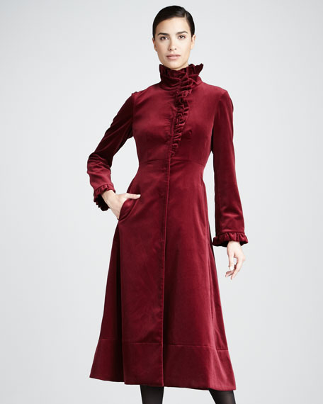 Ruffled Velvet Coat