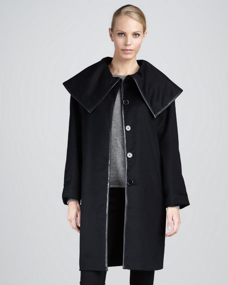 Funnel-Neck Leather-Trim Coat