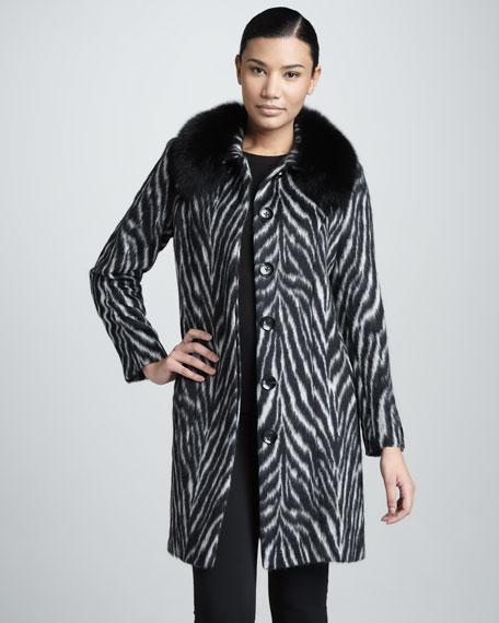 Zebra Belted Fur-Trim Coat