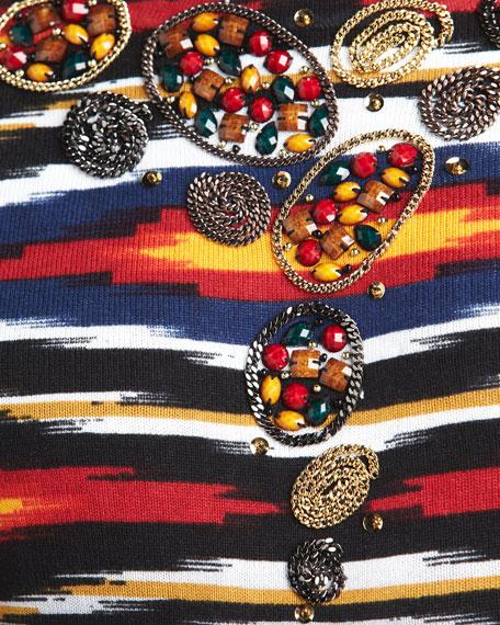 Beaded Horizon-Print Sweater