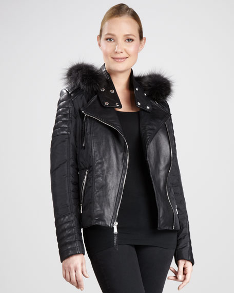 Fur-Trim Leather Moto Jacket