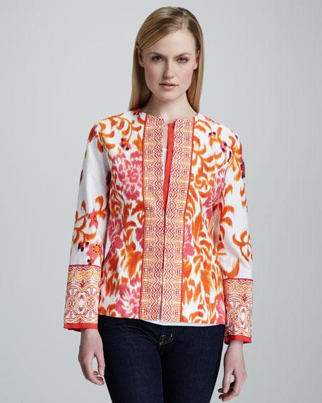 Mixed Print Jacquard Jacket