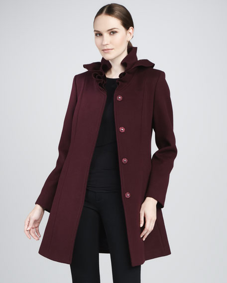 Cate Ruffle-Collar Wool Coat