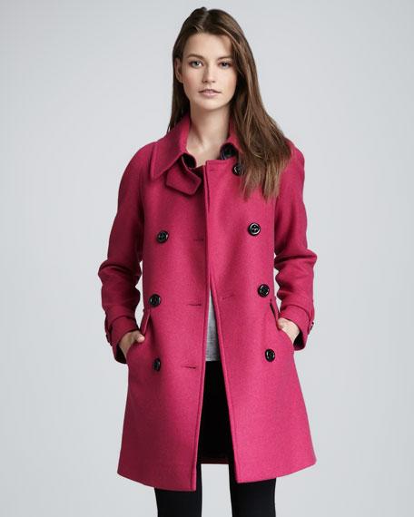Charlotte Leather-Trim Wool Coat