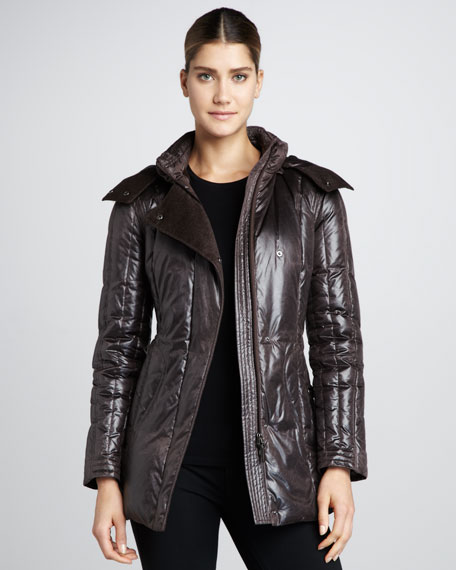Faux-Leather Puffer Coat