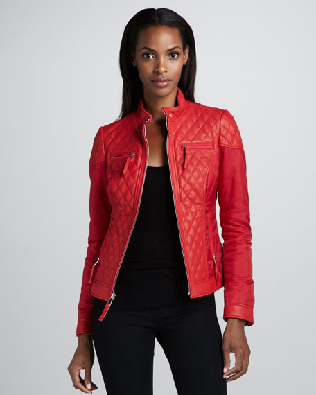 Mixed Media Quilted Leather Jacket