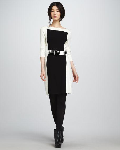Bow-Waist Contrast Dress
